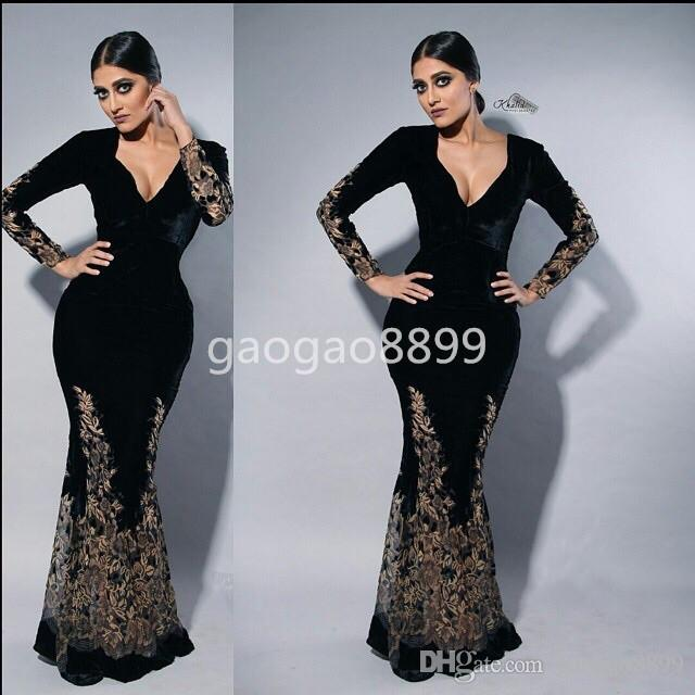 Myriam Fares Black Long Sleeve Formal Party Evening Gowns Wear Inlay Gold  Lace Embroidery V Neck Mermaid Dubai Arabic Prom Occasion Dresses Plus Size  Short ... d80c82a43e95