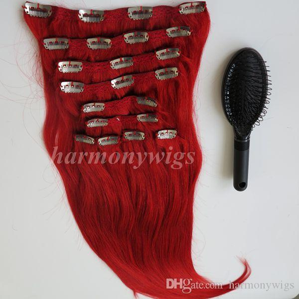 160g Clip In On Hair Extension Red Color Brazilian Indian Remy