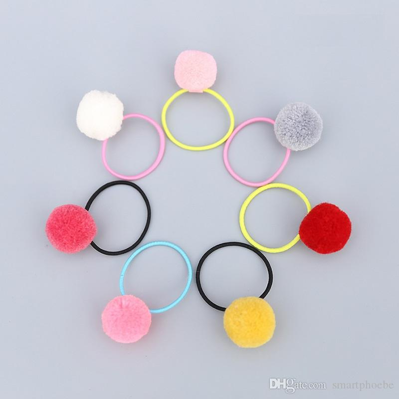 Wholesale Boutique Fashion Cute Candy Color Balls Pom Pom Elastic Hairbands Cute Hair Ties Rubber Gum Rope Princess Headware