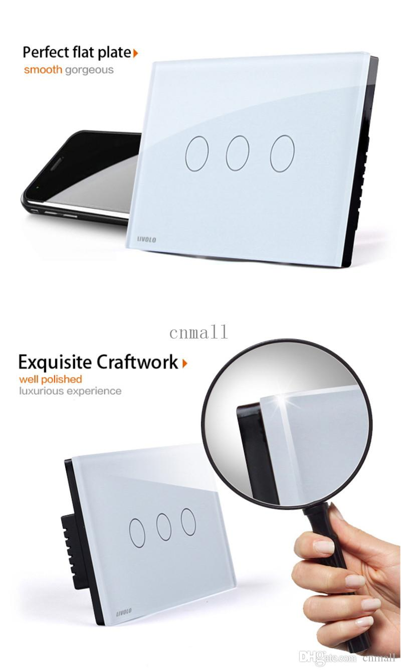 LIVOLO Switches Touch Switch AC 110~250V 3-gang One way Touch Control Light Switch VL-C303-81 Waterproof Touch Screen Control Wall Light