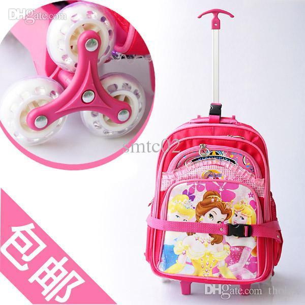 Freeship 3 Wheels Cute Pink Princess Children School Bags Primary ...