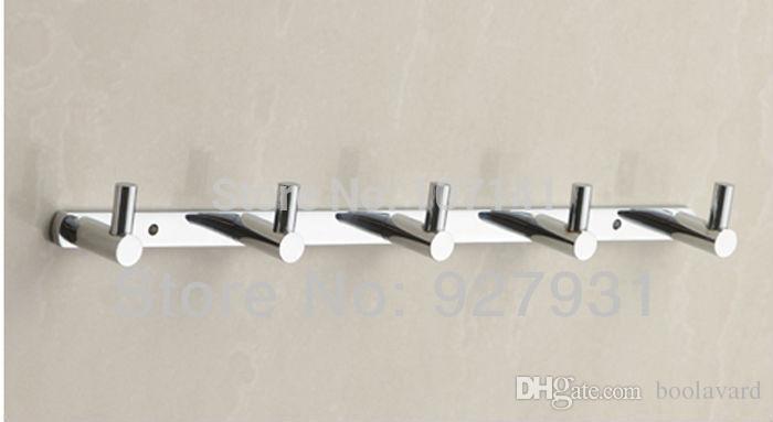 chrome bathroom 5 hooks towel u0026 coat rackhooks wall hook door mount towel hanger from boolavard dhgatecom