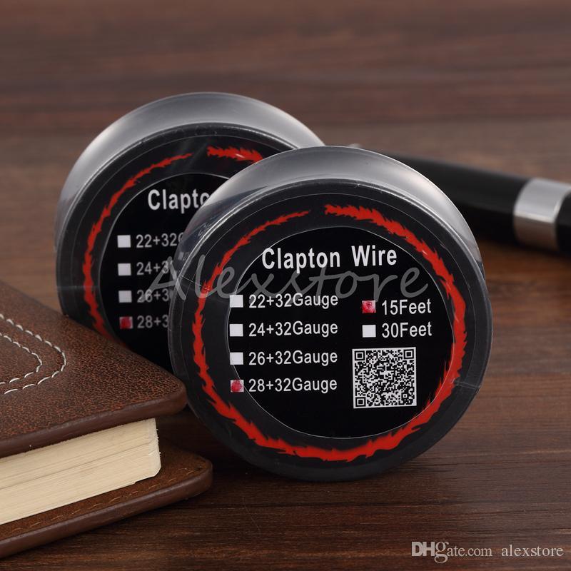 10 stks Nieuwste Clapton Wire Resistance Draden 15 voet 22 + 32 24 + 32 22 + 32 28 + 32 AWG Gauge Vaporizer Coil Spool met enkel pakket voor RDA VAPE