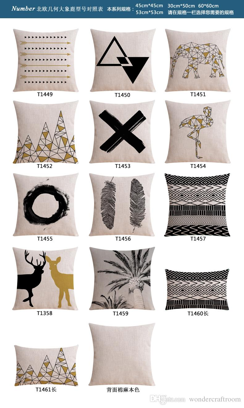 Nordic Geometric Triangles Animals Elephant Bird Flamingo Cushion Covers Palm Tree Deer Stag Pillow Case Linen Cotton Sofa Pillow Cover