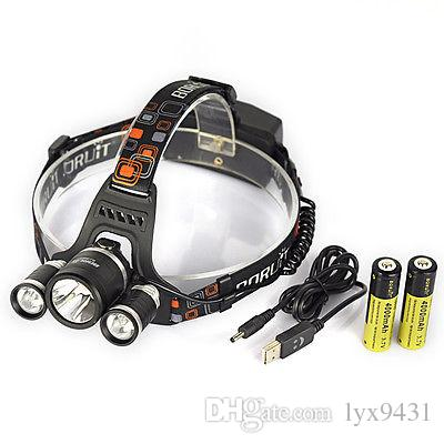 Boruit 8000LM 3X XM-L2 LED Headlight Head Torch 30W Headlamp+2x18650+USB Charger