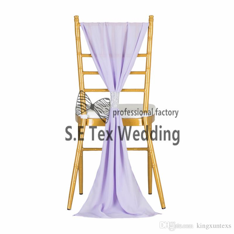 Hot Sale 35cm*190cm Chiavari Chiffon Chair Sash With Buckle For Wedding And Event Decoration