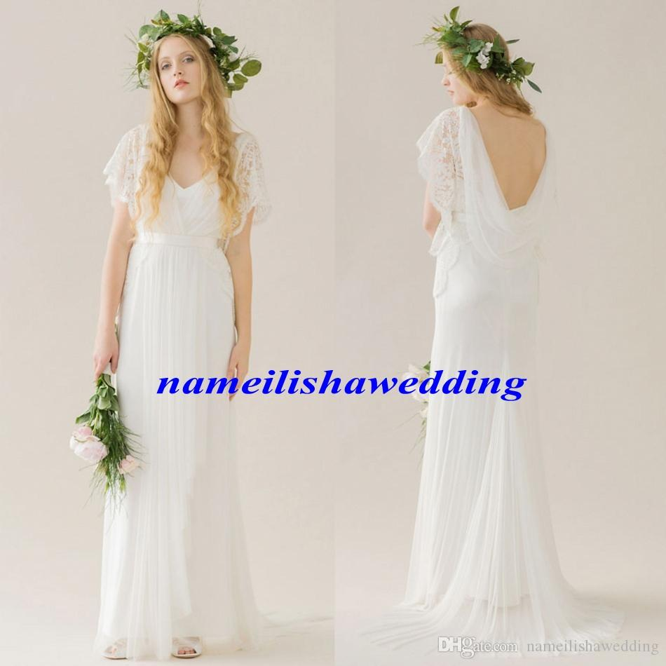 Discount modest bohemian beach wedding dresses 2016 lace cap short discount modest bohemian beach wedding dresses 2016 lace cap short sleeves backless boho simple chiffon country western bridal gowns full length new lace junglespirit Images