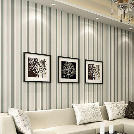 Striped wallpaper modern grey sofa tv wall paper for Striped wallpaper living room