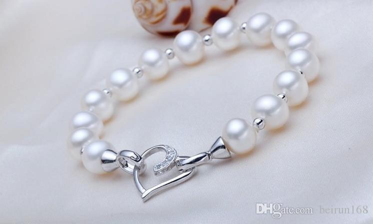 Accessori liberi della perla del commercio all'ingrosso di trasporto Yu fu yuan 925 argento a forma di cuore collana di perle braccialetto chiusura YPJ39