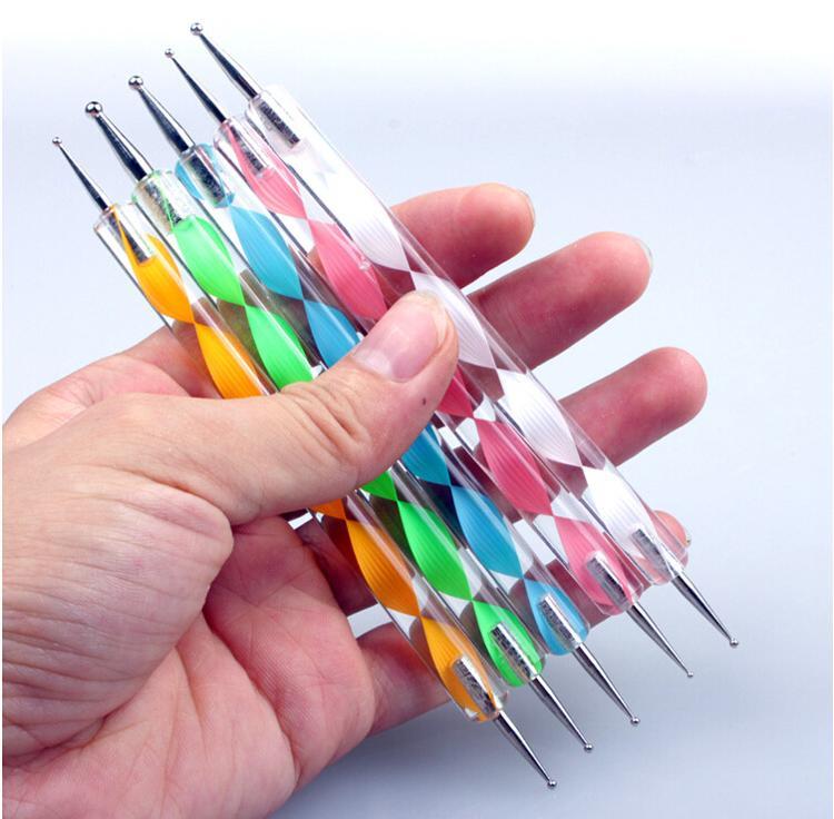 2Way Marbleizing Pontilhando Manicure Ferramentas Pintura Caneta Nail Art Paint um conjunto Frete Grátis