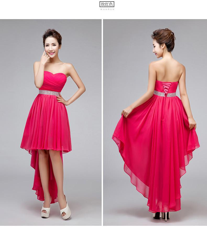 Lady Girl Light Champagne Hot Pink Red Rose Chiffon Low High Style ...
