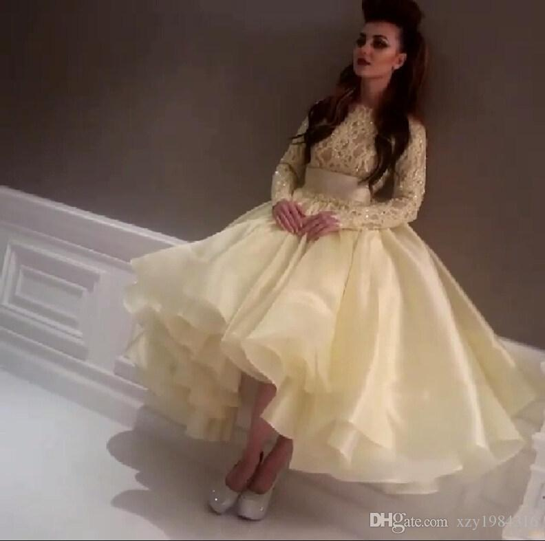 2015 Short Party Dresses Knee-length Long Sleeve Prom Dresses Lace Appliques Crew Ruffles Pleats Ruched Beaded Crystals Puffy Prom Dress
