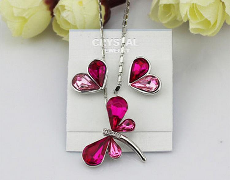 Newest Austria Crystal Jewelry Sets Double Colors Dragonfly Necklace Heart Earrings bracelet Set For Wedding Jewelry set 8003