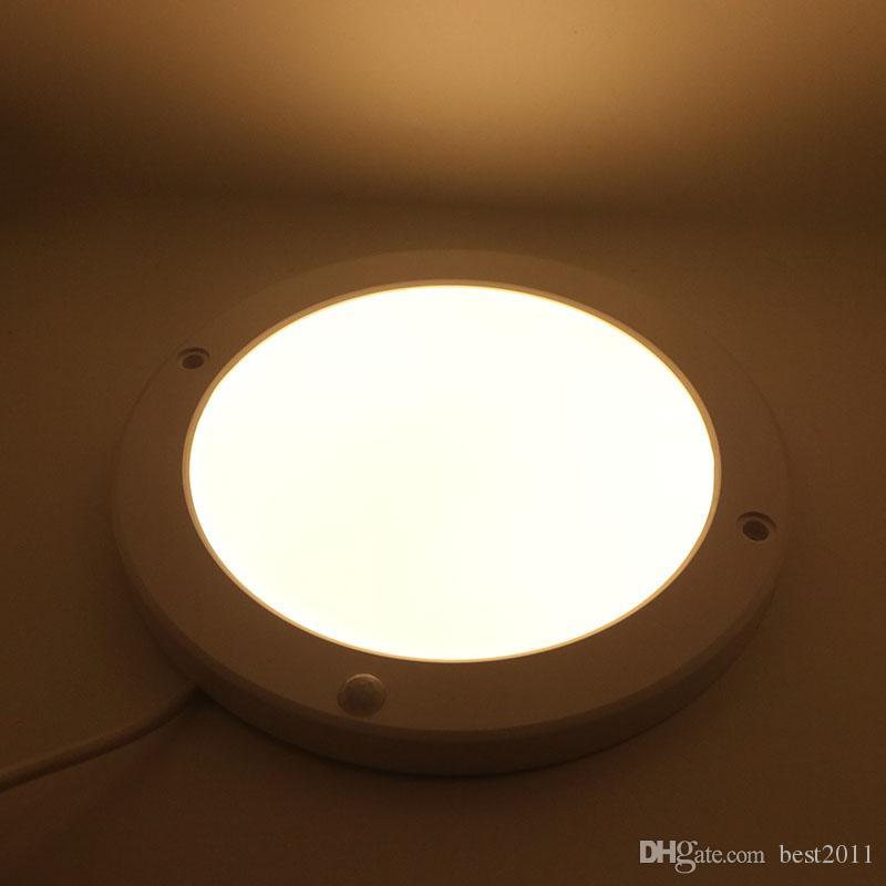 Luz del panel del sensor PIR súper brillante de 15 W 90-130 V Cuadrado redondo Sensor LED Downlight Lámparas de color blanco cálido para comedor