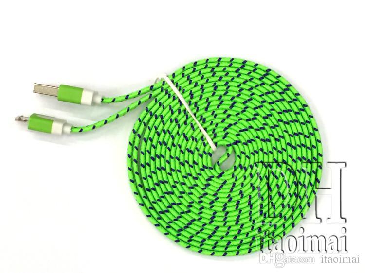 1M 2M 3M Tessuto Noodle intrecciato piatto Ricarica Cavo USB Nylon Sync Tessuto intrecciato Micro cavo USB universale Samsung S4 HTC