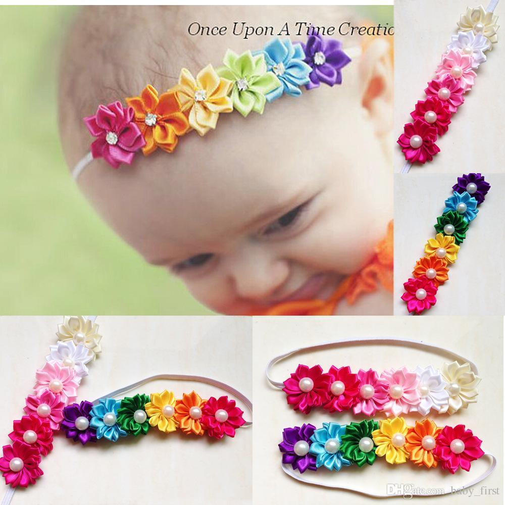 Baby Headbands Kids Infant Colorful Fabric Flowers Pearl Hair