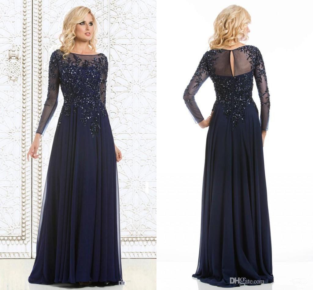 2015 Navy Blue Elegant Mother Of The Bride Dresses Sequined ...