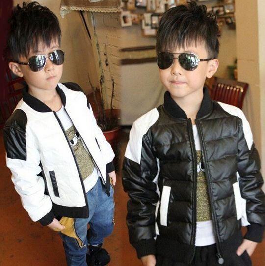 Winter Jackets For Children Pu Patchwork Black White Motorcycle
