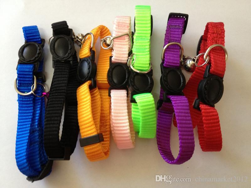 무료 조정가능한 안전 이탈 버클 고양이 솔리드 나일론 순수한 색깔 색상을 칼라 강아지 칼라 일곱 색깔 /많이