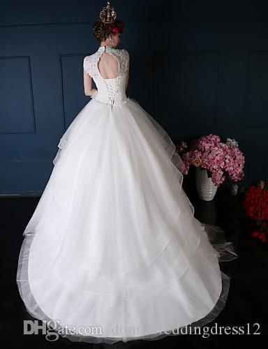 2016 New Hot Fashion Elegant Ball Gown White Court Train High Neck Short Sleeves Lace/Organza Luxurious Wedding Dresses 156