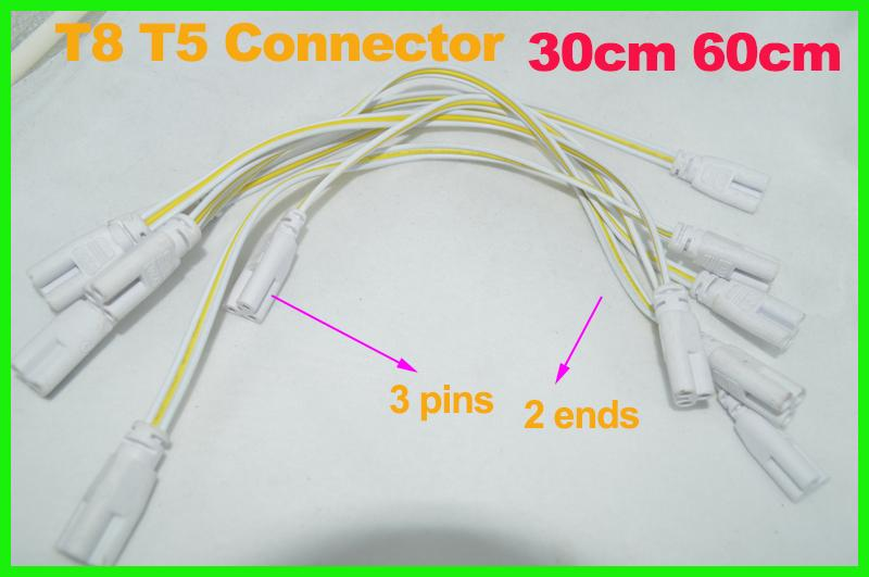 3 Pin 2 Ends T5 T8 LED Lamp Tube Connector 30cm 60cm Extend Cable White Color