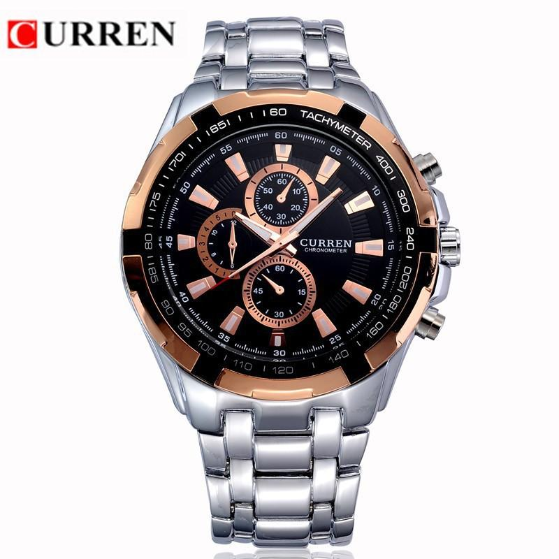9f794950800 Compre CURREN Original Marca Homens Relógios Desportivos Homens Relógios De  Pulso Militares Casual Aço Completa Homens Relógio 2015 À Prova D  Água  Reloj ...