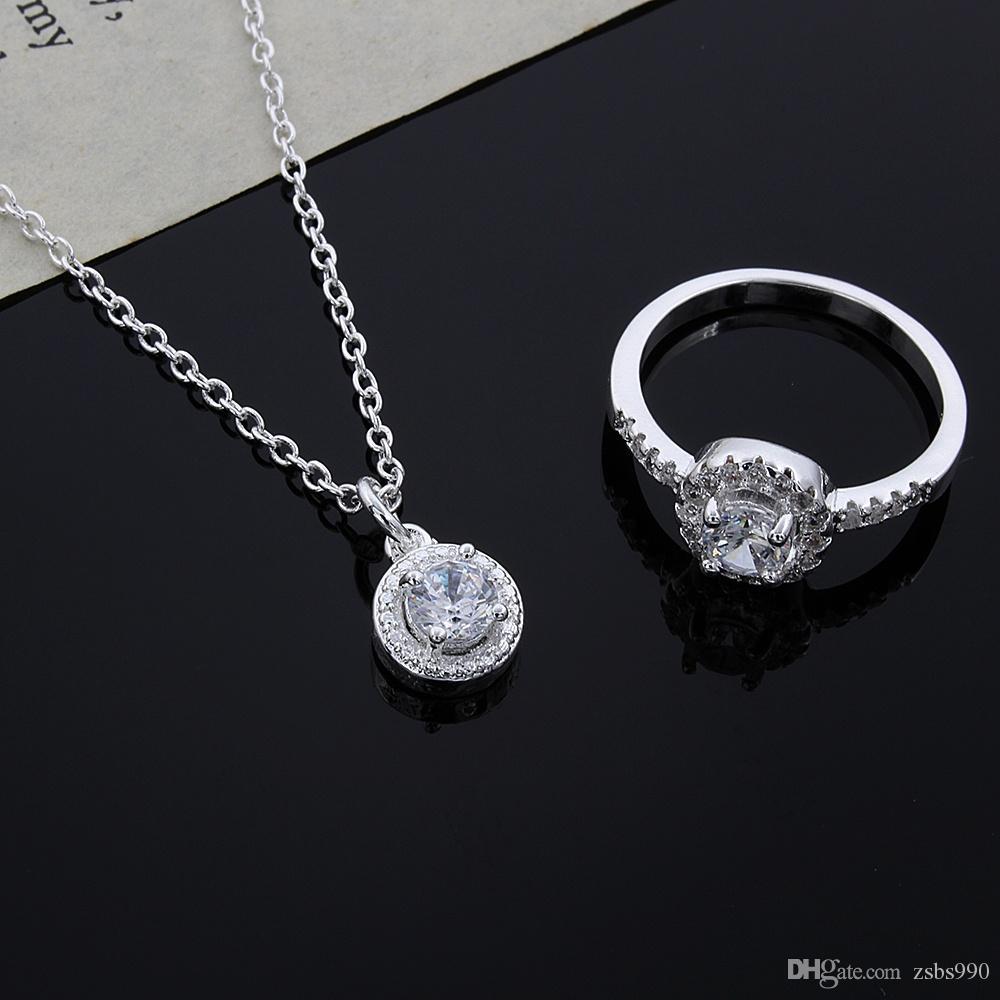 2015 تصميم جديد 925 فضة تشيكوسلوفاكيا الماس قلادة حلقة أقراط مجموعة الأزياء والمجوهرات هدية الزفاف للمرأة حرية الملاحة