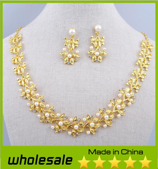 itm necklace sets jewelry plated fashion women gold earrings wedding crystal elegant