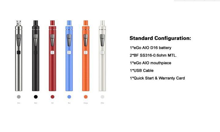 2017 Electronic cigarettes Authentic Joyetech Ego Aio D16 Kit 1500mah Ego Aio Battery 2ml Anti leaking Tank All In One E Cig Starter Kit