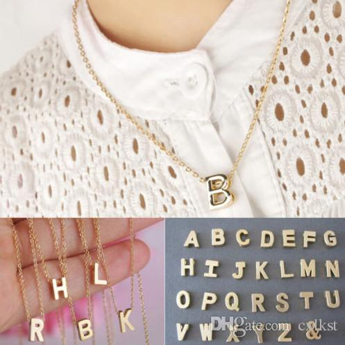 Fashion Women Gift Alloy Letter Name Initial Chain Pendant Necklace Brand New Good Quality Free Shipping