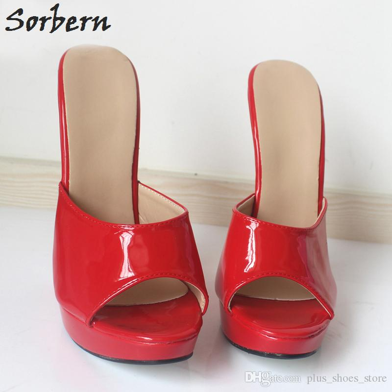 Sorbern Women Slip-on Sexy High Wedges Heels Shoes Platform Patent Leather Ankle Strap Sandals Fashion Summer Pumps Ladies Shoes Pluse Size