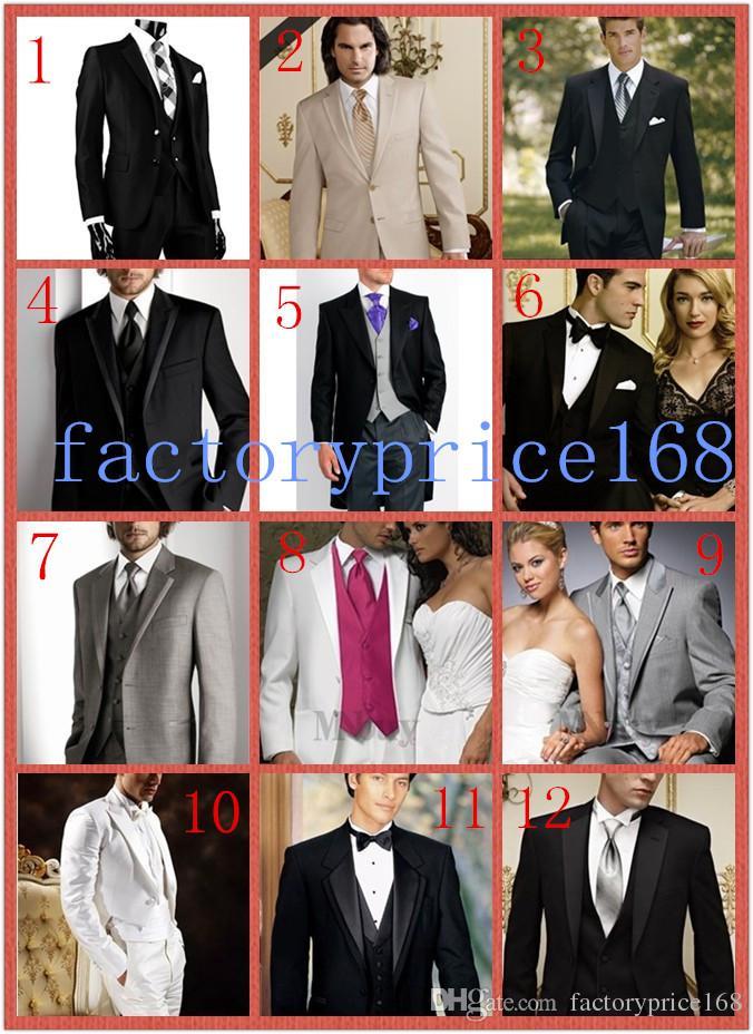 Top qualidade Cinza Novo Dois Botões Notch Lapela Do Noivo Smoking / Ternos do Noivo do Casamento dos homens Terno Jacket + Pants + Tie + Vest 07