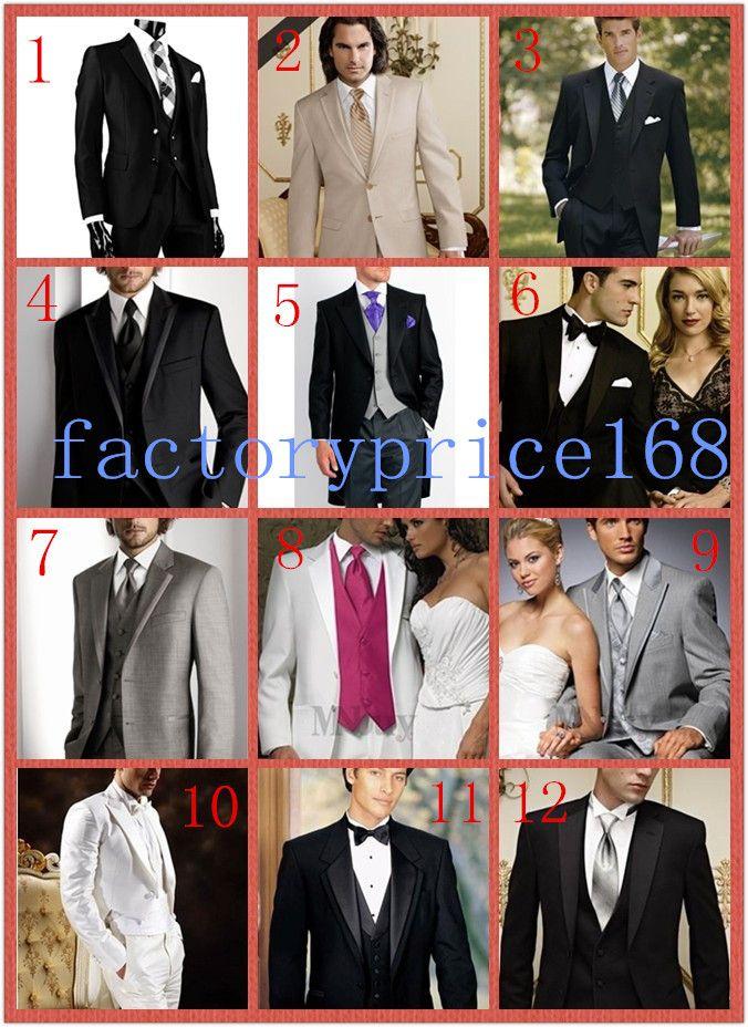 Toppkvalitet Två knappar Notch Lapel Ny Black Groom Tuxedos / Bröllop Mäns kostym Brudgum kostymer Jacka + Byxor + Tie + Vest 06