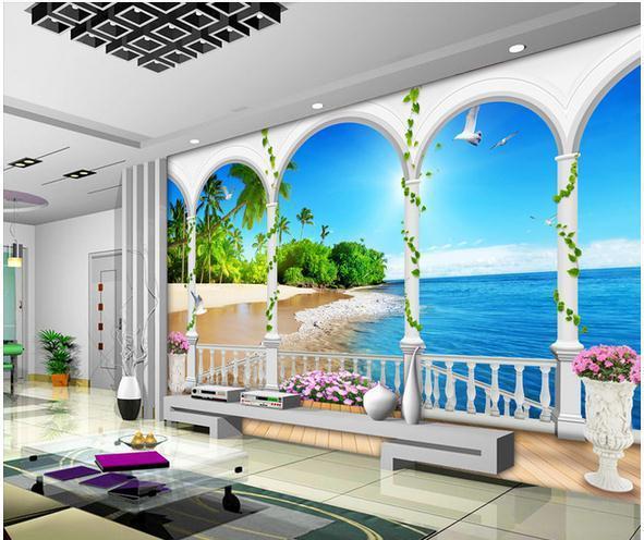 Großhandel Tapeten 3D Blau Und Weiß Strand Vliestapete Wandbild ...