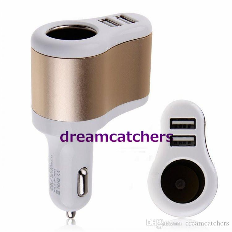 3 in 1 Dual USB Ports Aluminium Car Charger Cigarette Lighter Power Socket Adapter Universal for iphone 7 Samsung S7 HTC Blackberry