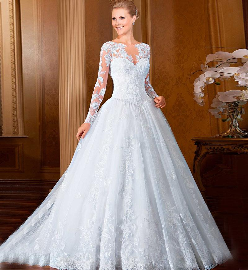 Großhandel Classy Full Sleeves Brautkleid Mit Appliques Organza Long ...