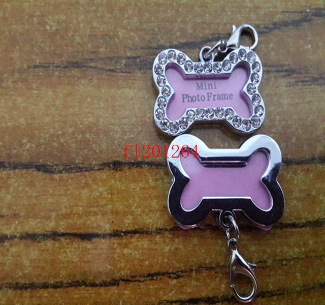 100 pçs / lote Frete Grátis 32x20mm Pet Collar ID Tag Dog Name Tag Strass Osso Em Forma Cachorro Cachorrinho Cristal Photo Frame