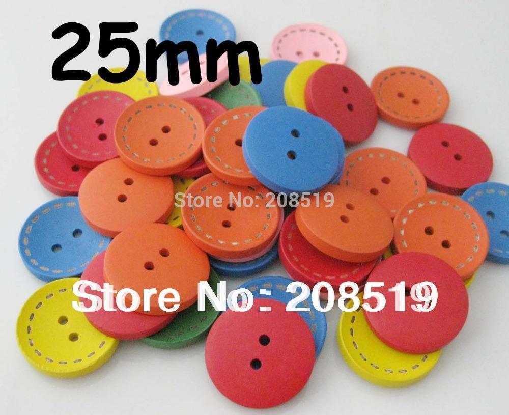 Großhandel Wb0119 Gravierte Kreis Holz Knopf 25mm Hohle Form Gemalte ...