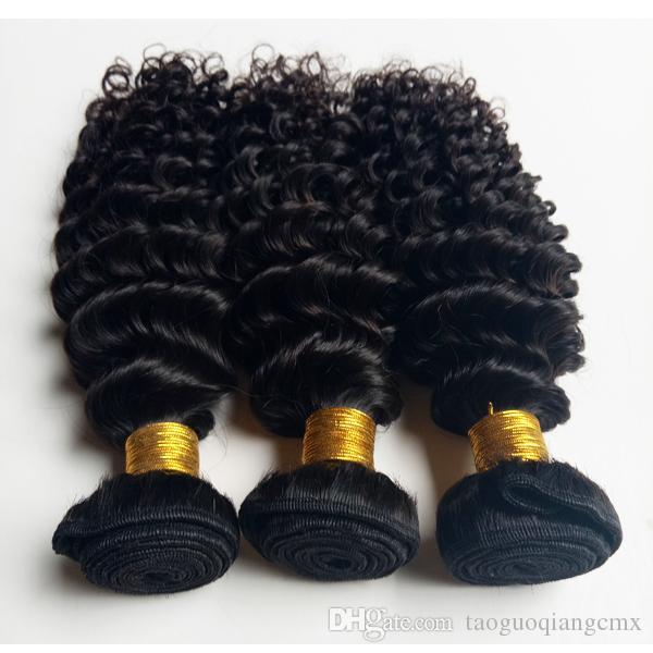 cabelo virgem humana não processado brasileiro tece extensões de cabelo beleza onda perverso Natural Color e preto # 1 # 1b para o cabelo americana Africano