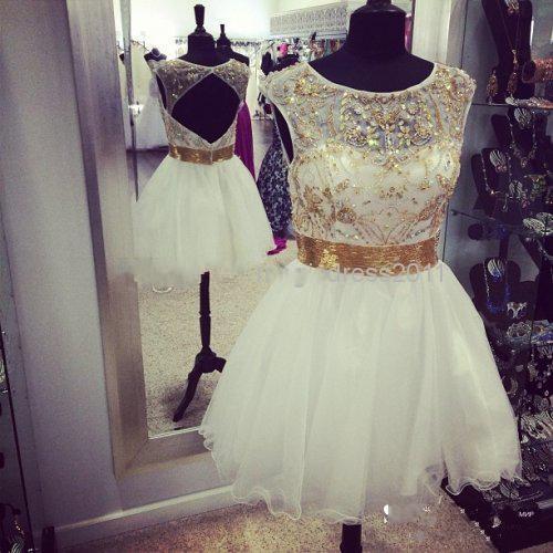 Short Beading Cocktail Dresses Vestido de Festa A Line Knee Length Amazing Pageant Dress Back Hollow party Gowns 2015