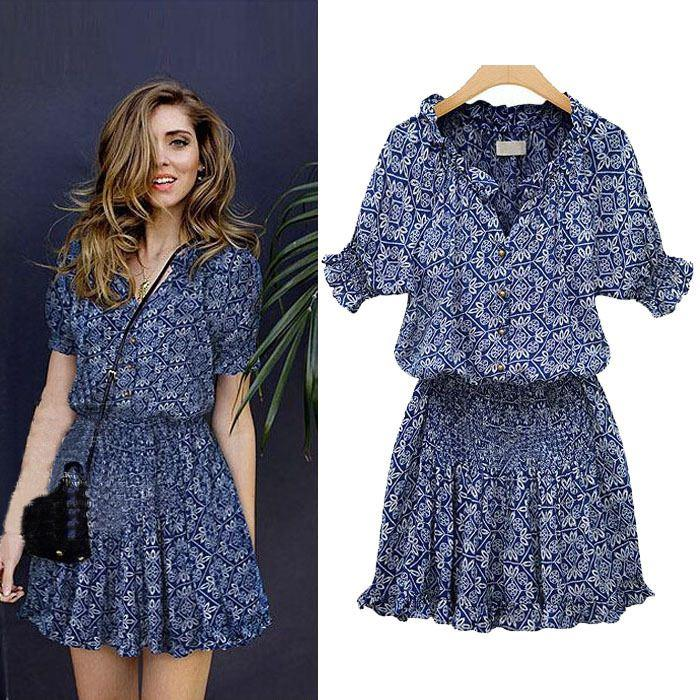 2018 Big Size Summer Clothes For Fat Women Summer Dress 2015 Women Floral Print Short Sleeve