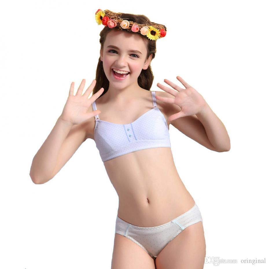 2016 puberty girls underwear set breathable cotton bra and matching