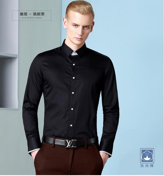 Black Man'S Shirt Pure Color Business Casual Shirts Long Sleeve ...