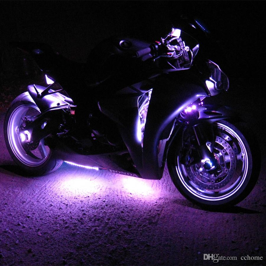 Motorcycle Led Light Kit Multi Color 3 Size Flexible Strips With Remote Controller For Car Suv Truck Bike Atv Led Light Strips For Trucks Outdoor