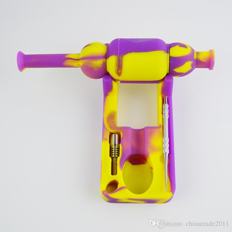 Silicone Collector Kit with 10mm Joint GR2 Titanium Nail and Dual-ended Titanium Dabber Tool Silicone Dab Water Pipe
