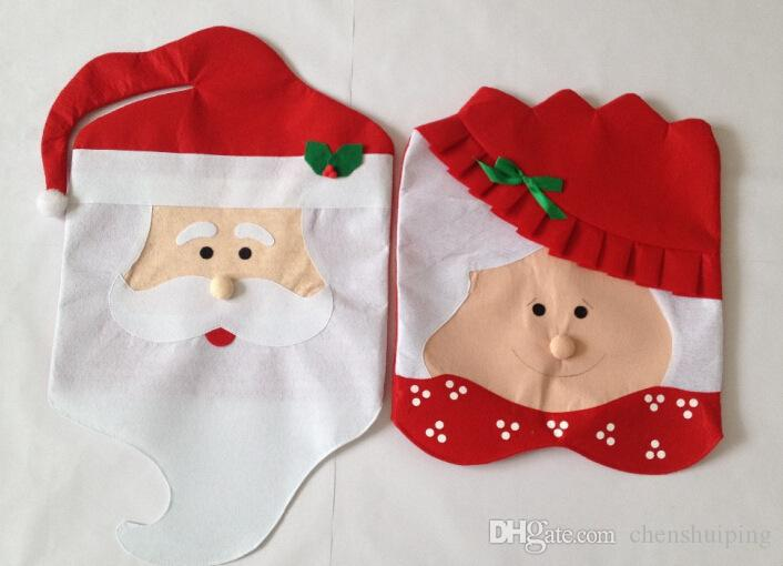 Christmas Chair Back Covers Santa Clause Snowmen Red Hat Style Best Christmas Decorations for Christmas Dinner and Party Cheap Wholesale