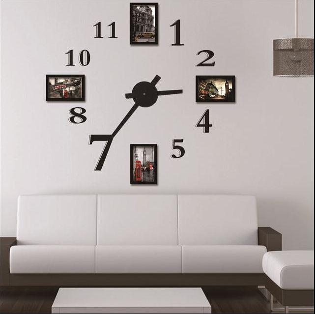 Photo Frame Wall Clock Modern DesignLarge Digital Decorative Wall