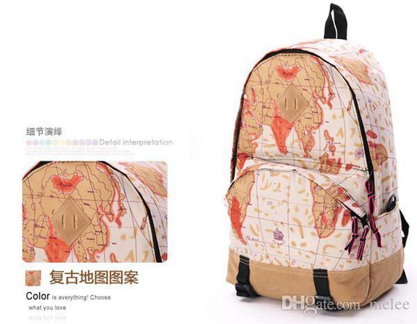 موضة جديدة خمر أزياء الفتيات stundents قماش ظهره صحيفة خريطة العلم تصميم مطبوعة المدرسية للجنسين الكتف حقيبة الظهر