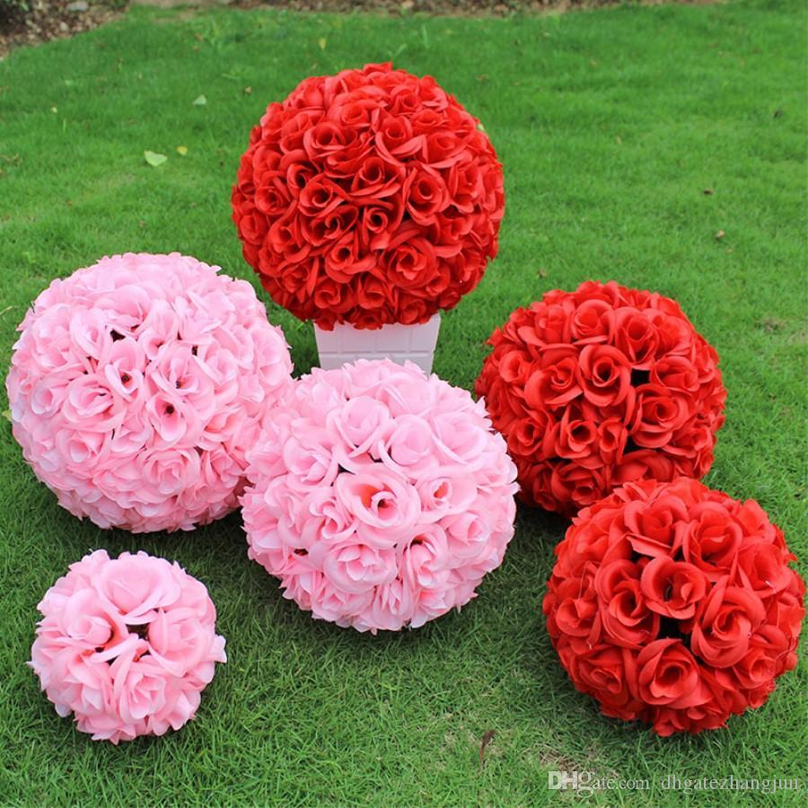 Elegant White Artificial Rose Silk Flower Ball Hanging Kissing Balls