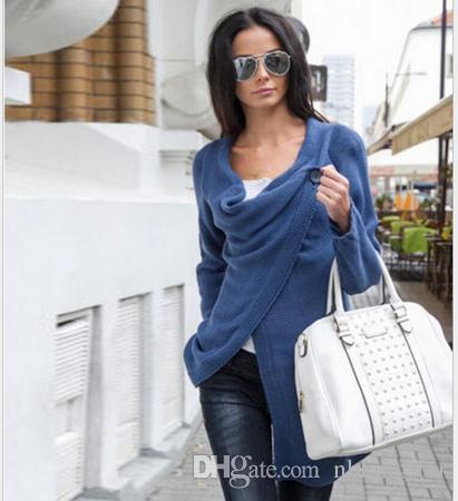 Kadın Kazak Örme Yeni Yıldız Modelleri Uzun Kollu Gevşek Dış Giyim Triko Hırka Bir Düğme Düzensiz Kazak